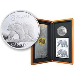 8 dollars coins; Canadian Wildlife Series; 2004 The Great Grizzly in original casing with COA and bo
