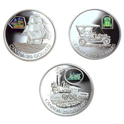 "20 dollars coins; Transportation on Land, Sea and Rail Series; 2001 The Russell ""Light Four"", The Ma"
