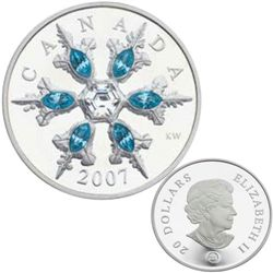 20 dollars 2007 Sterling Silver Crystal Snowflake Aquamarine in case of origin with COA, mintage of