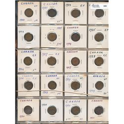 Cents Collection;  1920 to 1956 with key dates.  Includes many duplicate dates.  484 coins G4 to MS6