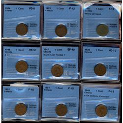 Cent 1922 F-12; Heavy Corrosion, 1923 F-12, 1924 VG-8, 1926 VG-10, 1947 EF-40; Maple Leaf Pointed 7,