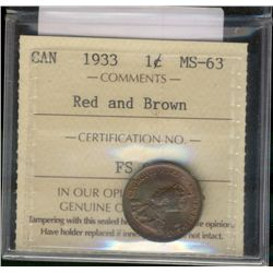 Cent 1933 ICCS MS-63; Red & Brown.