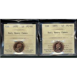 Cent 1970 PL-66 and 1971 PL-65, both ICCS;  Red with Heavy Cameo.  Lot of 2 coins.