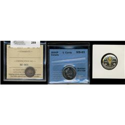 5 cents 1899 ICCS EF-45, 2000P CCCS MS-63 & 1945-2005 Silver Selectively Gold Plated PF-68 Ultra Hea