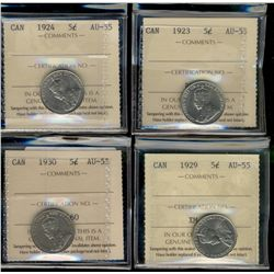 5 Cents 1923 , 1924, 1929 & 1930 all ICCS AU55.  Lot of 4 coins.