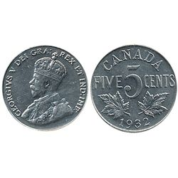 5 Cents 1932  ICCS AU55.  Full beads with MS lustre.