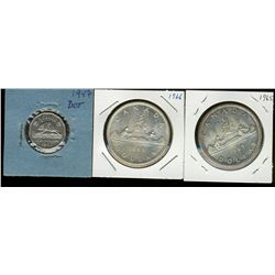 5 cents 1947 Dot in F-12, dollar 1965 Small Deads Blunt 5 in MS-60 & dollar 1966 Large Beads in MS-6