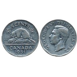 5 Cents 1951  High Relief ICCS VF30.