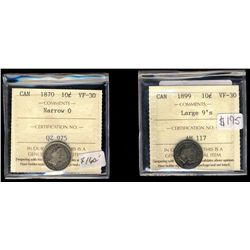 10 Cents 1870  Nar0 & 1899 Lg 9's ICCS VF30.  Lot of 2 coins.