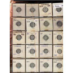 10 Cents 1938 to 1975; lot of 365 pieces, 125 silver issues and rest nickel, Good to UNC.