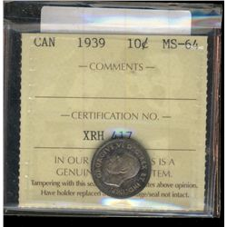 10 cents 1939 ICCS MS-64. Medium purple toning on both side, attractive coin.
