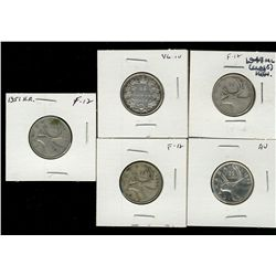 25 cents 1874H VG-10, 1943 F-12, 1947 F-12; Maple Leaf, 1948 AU-50 & 1951 F-12 High Relief. Lot of 5