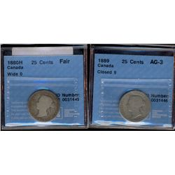 25 cents 1880H CCCS Fair (AG-2); Wide 0 & 1889 CCCS AG-3; Closed 9. Lot of 2 coins.