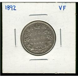 25 cents 1892 in VF-20.