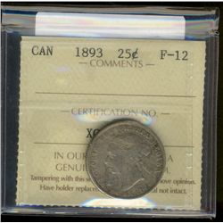 25 cents 1893 ICCS F-12. Key date.
