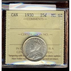 25 cents 1930 ICCS MS-62.