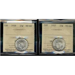 25 Cents 1937  MS64 & 1938 MS60.  Lot of 2 ICCS graded coins.