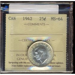25 cents 1942 ICCS MS-64.