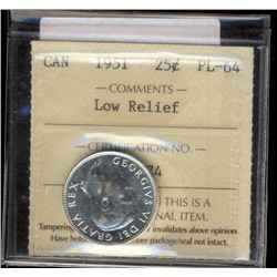 25 cents 1951 ICCS PL-64; Low Relief.