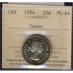 25 cents 1954 ICCS PL-64; Cameo.