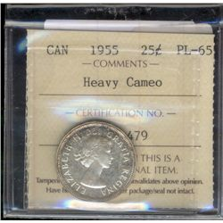 25 cents 1955 ICCS PL-65; Heavy Cameo.