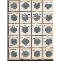 50 Cents Nickel Collection;  1968 to 1976 with many duplicates.  160 coins EF to MS.