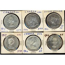 Dollars 1935, 1936, 1957, 1964, 1966 and 1967.  Lot of 6 coins UNC or better.