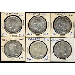 Dollars 1935, 1938, 1939, 1964, 1966 and 1967.  Lot of 6 coins UNC or better.