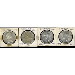 Dollars 1939(2), 1955 and 1966.  Lot of 4 coins UNC or better.