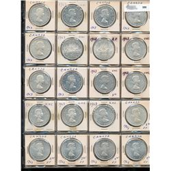 Dollars Silver; 1939 - 1967.  Lot of 60 pieces VF to UNC.