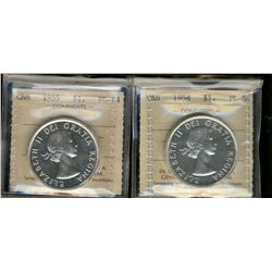 Dollar 1954 PL63 & 1955 PL64.  Lot of 2 ICCS graded coins.  1954 designated with Cameo.
