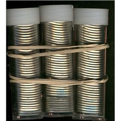 Rolls: 3 x 5 cents 1964 Uncirculated. Total of 120 coins in plastic tubes.