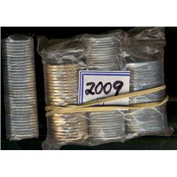 Rolls; 5 cents, 25 cents, 1 dollar, 2 dollars, all 2009 BU Rolls. Lot of 4 rolls with face value of