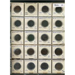 Newfoundland issue coins;  Various Cents 1865 to 1943c(30), Five Cents 1947c(15), Ten Cents 1894-194