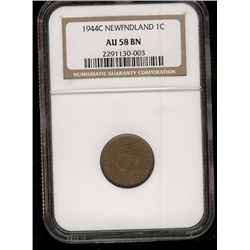 Newfoundland 1 cent 1944 in NGC AU-58; Brown.