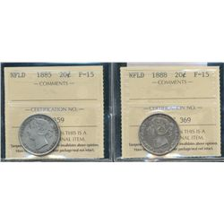 Newfoundland 20 Cents 1885  & 1888 ICCS F15.  Lot of 2 coins.