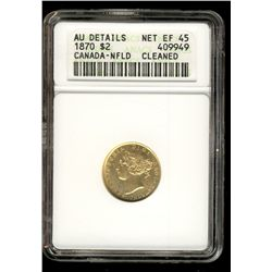 Newfoundland gold; 2 dollars 1870 ANACS Net EF-45; Cleaned, AU Details. Not noted Obverse 1.