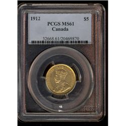 Canada gold; 5 dollars 1912 PCGS MS-61.