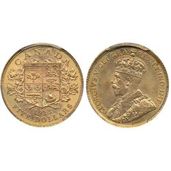 Canada gold; 5 dollars 1913 PCGS MS-63.