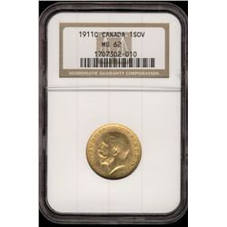Canada gold; Sovereign 1911C NGC MS-62.