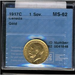 Canada gold; Sovereign 1917C CCCS MS-62.