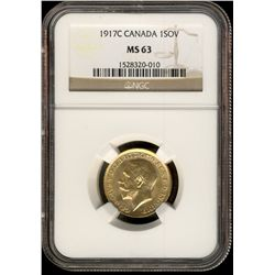 Canada gold; Sovereign 1917C NGC MS-63.