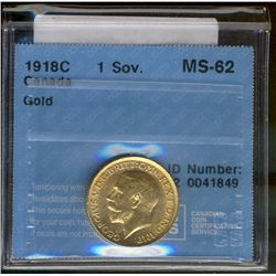 Canada gold; Sovereign 1918C CCCS MS-62.