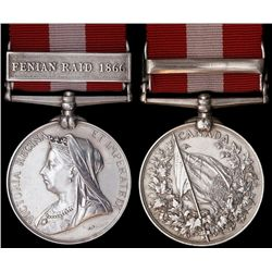Canada General Service Medal;  Fenian Raid 1866 presented to Pte W. Grant of the 19th Bn.   Institut
