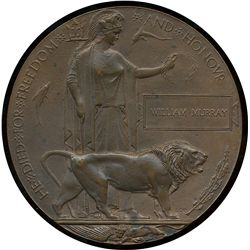 Great Britain;  Medal  ''HE DIED FOR FREEDOM AND HONOUR'' Designed, by Edward Carter Preston, compri