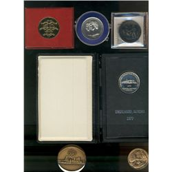 1967 Canada Centennial Medal by Lombardo Mint (silver plated), Copper Coronation 1953 Medal in case,