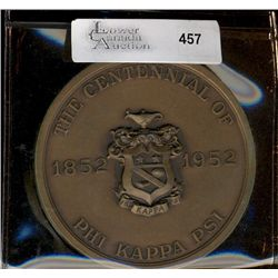 Medal; College Fraternity Centennial  1852- 1952 of PHI KAPPA PSI. Founded by William H. Letterman &