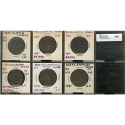 Miscellaneous issue Tokens;  6 pieces, Br;997, 1004(2), 1010, 1012 and 1013.  Good to Fine.