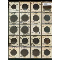 Quebec issue Tokens;  55 pieces including French Regime(2) and mixture of Quebec Tokens(53).  AG to