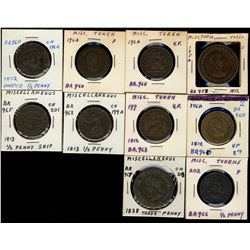 Colonial tokens, lot of 10 pieces.  VG to VF. A decent lot.